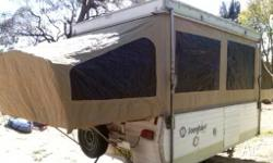 This Jayco Songbird trailer opens up to a spacious 4
