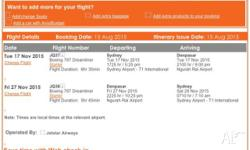 Hi, I have one ticket for a jetstar flight Sydney to