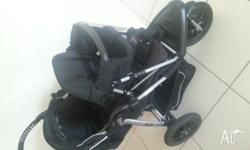 Bertini Jogger Pram with Toddler Seat Attachment. Very