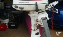 Johnson/Suzuki 6 HP four stroke ouboard motor. In as