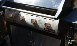 Jumbuck 4 burner bbq, half full gas bottle included,