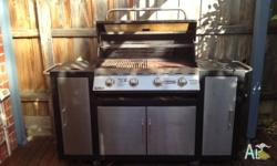 Jumbuck Ultra 4 Burner BBQ with Hood and Side burner.