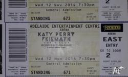 3x Katy Perry General Admission tickets for Wednesday
