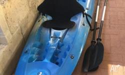 Near new Blue 2 1/2 seater kayak Seats Paddles Used 5