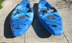Finn Kayaks x 2 with paddles. Lenght of Kayak 264cms.