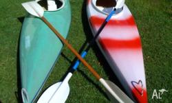 2 x 4.2 metre fibreglass kayaks, including paddles.