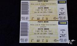 Two tickets for Keith Urban Light The Fuse Tour Sunday