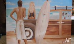 Kelly Lane Canvas of Surfer 120cm x 90cm. Some marks