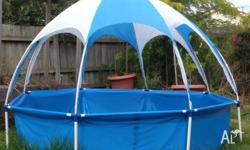 Polyester and PVC pool with UV 30 canopy 2.5m x 2.5m x
