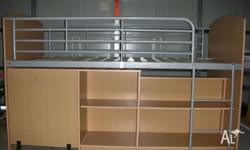 Kids Single Bunk Bed, with integrated slide out desk.