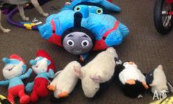 Over 10 Kids teddy bears 4 penguins 1 Thomas the tank