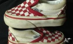 Cute!! Genuine VANS red/white checkered sneakers/shoes.