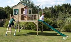 Funtime Villa Large wooden house with straight slide,