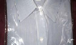 Navy and White striped, poly/cotton button front, short