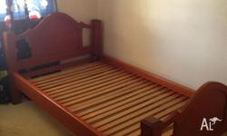 Wooden King single bed frame, Needs to go,just taking