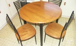 Round baltic pine table, 90cm diameter, on a black