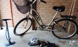 Ladies Townie Bike - good condition - helmet, pump,
