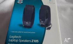 Logitech laptop speakers, usb port, plug and play