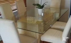 Large beveled edge glass dining table set 6 chairs