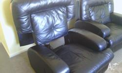 Pair of large Black manual recliner chairs ,Club Style