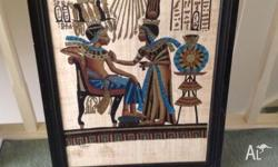 Large Egyptian papyrus painting. Ready to hang on your