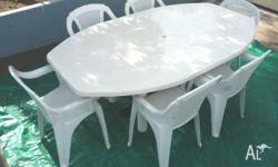 Large size ( 200 cm by 120 cm ) Outdoor table with 6