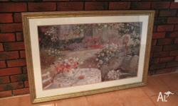 Lovely professionally framed cottage garden print for