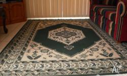 YOU ARE LOOKING AT A LARGE GREEN & CREAM RUG 270CM X
