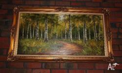 Professionally framed large oil painting of the south