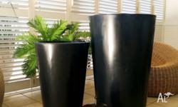 Two large tin feature pots - Burnished charcoal colour