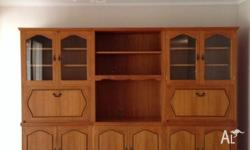Wooden wall unit, place for tv, dvd, wine rack,