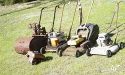 4x old lawnmowers Qualcast, Turner with spare motor,