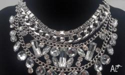 Layered diamante jewelled silver statement choker