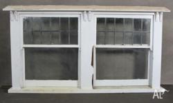 Leadlight Double Hung Window with original old style