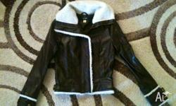 Leather look jacket unisex child size 6 Fully lined
