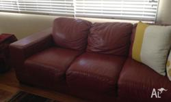 3 seater and 2 seater leather sofas. Chilli red, good