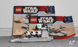 Fully assembled lego star wars rebel scout speeder with
