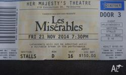 Awesome seating for Les Mis 21st November 2 tickets