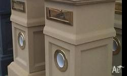 LETTERBOX Sandstone Letterboxes Medium Brass fittings.