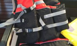 Never used 3 adult life jackets and 1 child. Adult $30