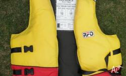 Several life jackets PFD for sailing or boating