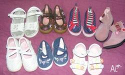 7 pairs of shoes. Sized from 3-8 (left to right, top to