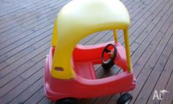 Little Tikes Kids Push Coupe car. Fuel cap, door, horn