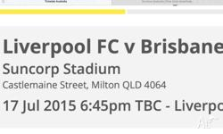 I am after 2x tickets to the Liverpool vs Brisbane