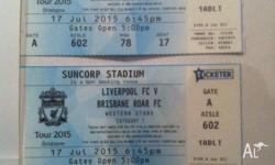 2 tickets Suncorp stadium LFC v Roar Category 1 Section