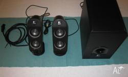 Logitech speakers 2.1. Powerful sound. Has volume