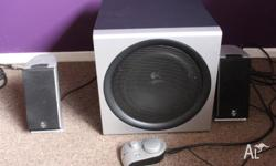 2.1 LOGITECH SPEAKERS FOR SALE 2 SATELLITE SPEAKERS