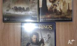 3 Lord of the Rings DVD movies. - 6 DVD's in all. All
