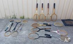 Lot of vintage tennis and squash rackets, great