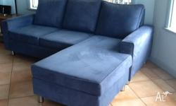 Dusty blue faux fabric 2.5 Seater Modular+Chaise